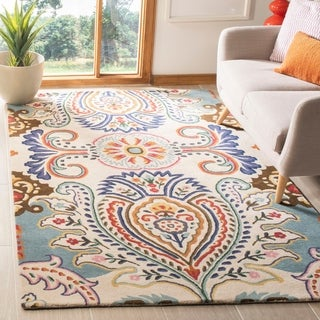 Safavieh Handmade Bella Ivory/ Blue Wool Rug (2'3 x 7')