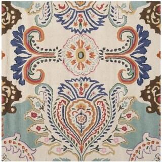 Safavieh Handmade Bella Ivory/ Blue Wool Rug (5' x 5' Square)
