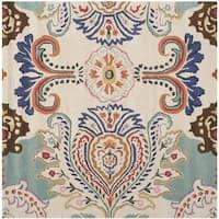 Safavieh Handmade Bella Ivory/ Blue Wool Rug - 5' x 5' square
