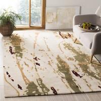 Safavieh Handmade Bella Modern Abstract Beige/ Green Wool Rug - 5' x 5' square