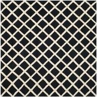 Safavieh Handmade Cambridge Moroccan Crisscross Pattern Black Wool Rug - 6' x 6' Square