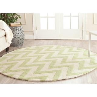 Safavieh Handmade Moroccan Cambridge Chevron Light Green Wool Rug (6' Round)