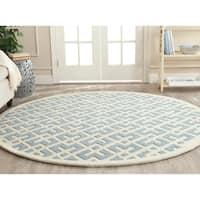 Safavieh Contemporary Handmade Moroccan Blue Wool Rug - 7' Round