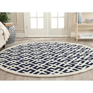 Safavieh Handmade Moroccan Dark Blue Pure Wool Rug (7' Round)