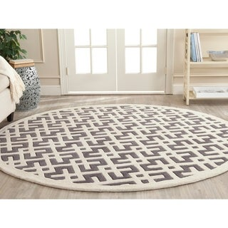 Safavieh Handmade Moroccan Dark Grey Wool Floor Rug (7' Round)