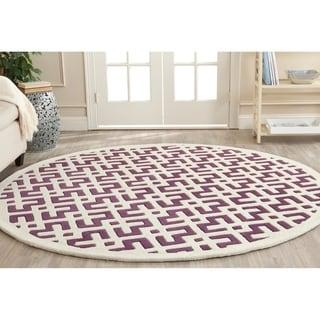 Safavieh Contemporary Handmade Moroccan Purple Wool Rug (7' Round)
