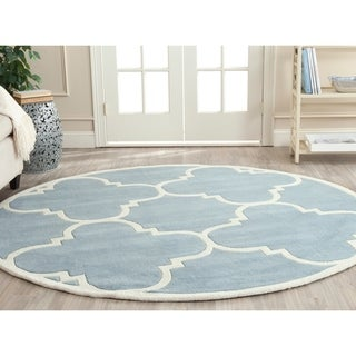 Safavieh Handmade Moroccan Blue Wool Rug with Thick Pile (7' Round)