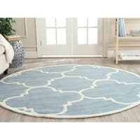 Safavieh Handmade Moroccan Blue Wool Rug with Thick Pile - 7' Round