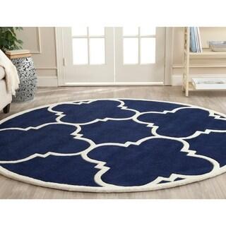 Safavieh Handmade Moroccan Dark Blue Wool Indoor Rug (7' Round)