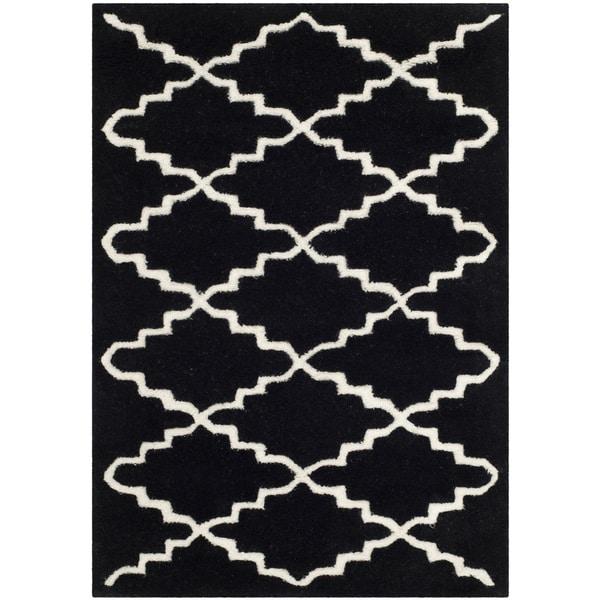 Safavieh handmade moroccan black and white wool rug 2 39 x for Black and white wool rug