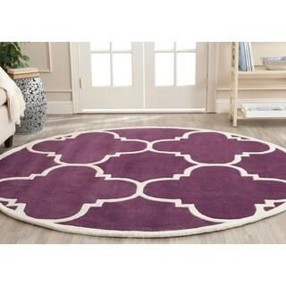 Safavieh Modern Handmade Moroccan Purple Wool Rug (7' Round)
