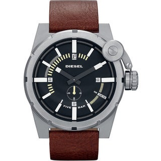 Diesel Men's Black Dial/ Brown Leather Strap Watch