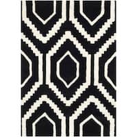 Safavieh Contemporary Handmade Moroccan Black Wool Rug - 2' X 3'