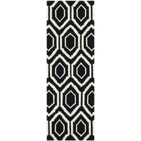 "Safavieh Contemporary Handmade Moroccan Black Wool Rug (2'3"" x 7') - 2'3 x 7'"