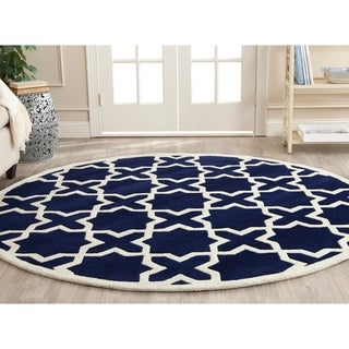 Safavieh Handmade Moroccan Dark Blue Wool Rug with Durable Backing (7' Round)