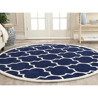 Safavieh Handmade Moroccan Chatham Dark Blue Geometric Wool Rug (7' Round)