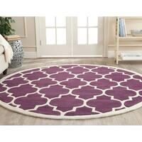 Safavieh Handmade Moroccan Chatham Purple Wool Rug - 7' Round