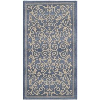 Safavieh Resorts Scrollwork Blue/ Natural Indoor/ Outdoor Rug (2' x 3'7)
