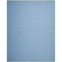 Safavieh Hand-woven Moroccan Reversible Dhurrie Stripes Reversible Dhurrie Blue Wool Rug - 8' x 10'