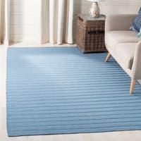 Safavieh Hand-woven Dhurrie Flatweave Blue Stripe Wool Rug - 8' x 10'