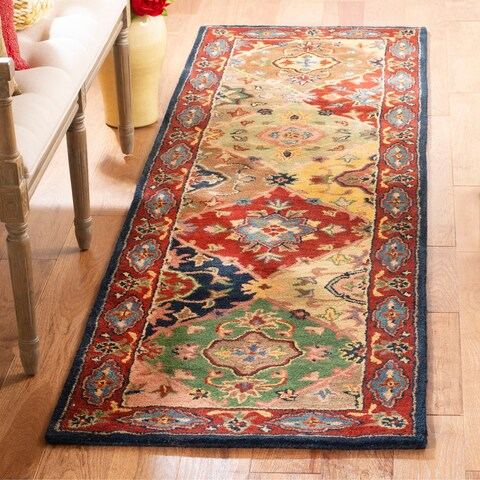 "Safavieh Handmade Heritage Timeless Traditional Red Wool Rug - 2'3"" x 14'"