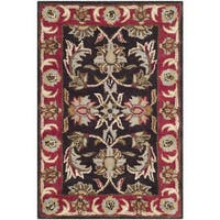 Safavieh Handmade Heritage Timeless Traditional Chocolate Brown/ Red Wool Rug (2' x 3')