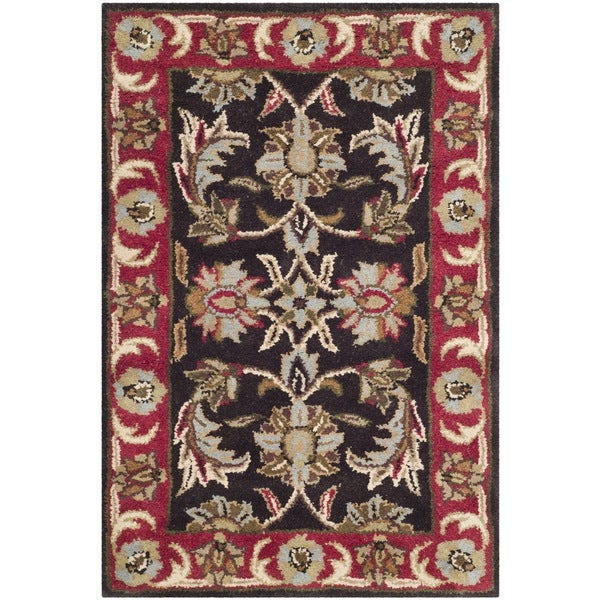 Safavieh Handmade Heritage Timeless Traditional Chocolate Brown/ Red Wool Rug - 2' X 3'