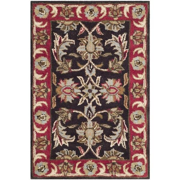 Safavieh Handmade Heritage Timeless Traditional Chocolate Brown/ Red Wool Rug - 2' x 3'