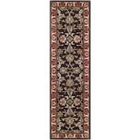 "Safavieh Handmade Heritage Timeless Traditional Chocolate Brown/ Red Wool Rug - 2'3"" x 12'"