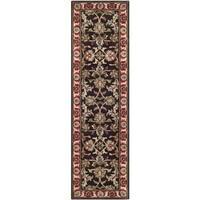 Safavieh Handmade Heritage Timeless Traditional Chocolate Brown/ Red Wool Rug - 2'3 x 8'