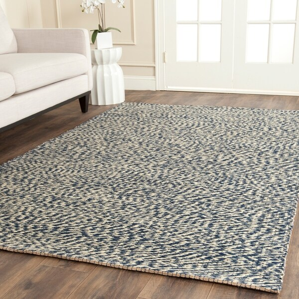 Safavieh Casual Natural Fiber Hand-Woven Doubleweave Blue/ Ivory Jute Rug - 9' x 12'