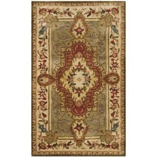 Safavieh Handmade Royalty Green/ Ivory Wool Rug (3' x 5')