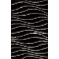 Safavieh Handmade 3D Shag Modern Black/ Grey Runner - 2'6 x 4'