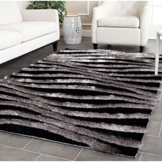 Safavieh Handmade 3D Shag Modern Black/ Grey Area Rug (3'6 x 5'6)