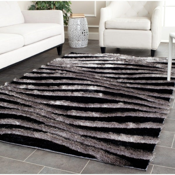 8x10 Area Rugs Gray And White: Safavieh Handmade 3D Shag Modern Black/ Grey Area Rug