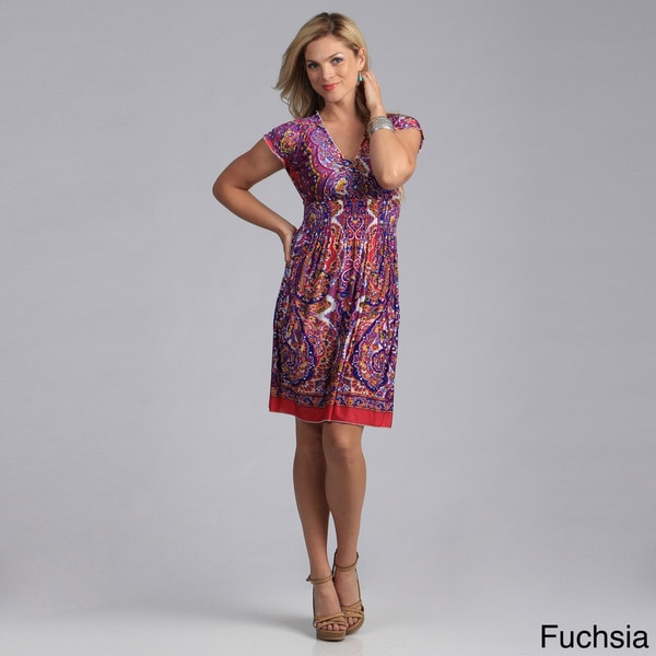 Just Funky Women's Paisley Print Knit Dress