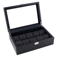 Caddy Bay Collection Black Carbon Fiber Pattern Watch Box Display Case