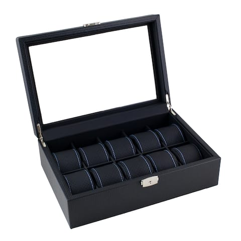 Caddy Bay Collection Black Carbon Fiber Pattern Blue Stitching Watch Box Display Case