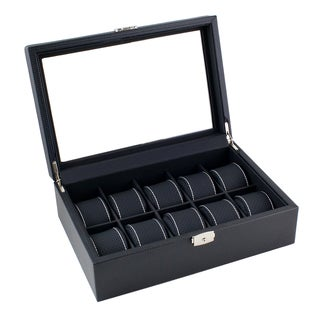 Caddy Bay Collection Black Carbon Fiber Pattern White Stitching Watch Box Display Case