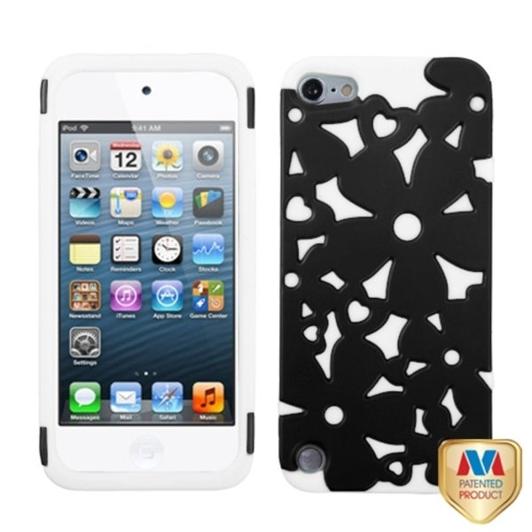 Insten White/ Black Flowerpower Hard PC/ Silicone Hybrid Rubberized Matte Case Cover For Apple iPod Touch 5th/ 6th Gen