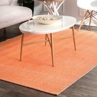 nuLOOM Handmade Flatweave Herringbone Chevron Orange Cotton Rug - 8' x 10'
