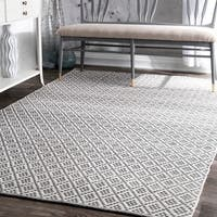 nuLOOM Handmade Flatweave Moroccan Trellis Grey Cotton Rug (8' x 10')