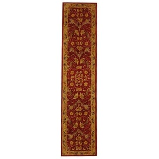 Safavieh Hand-made Anatolia Burgundy/ Gold Wool Rug (2'3 x 22')
