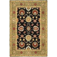 Safavieh Handmade Anatolia Oriental Black/ Green Hand-spun Wool Rug - 4' x 6'