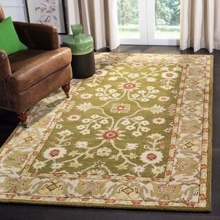 Safavieh Handmade Anatolia Classic Oriental Moss Green/ Ivory Hand-spun Wool Rug (4' x 6')