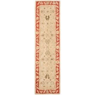 Safavieh Handmade Anatolia Oriental Taupe/ Red Hand-spun Wool Rug (2'3 x 8')