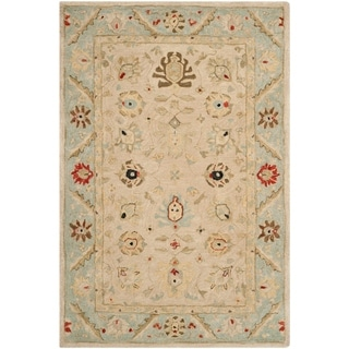 Safavieh Hand-made Anatolia Natural/ Soft Turquoise Wool Rug (4' x 6')