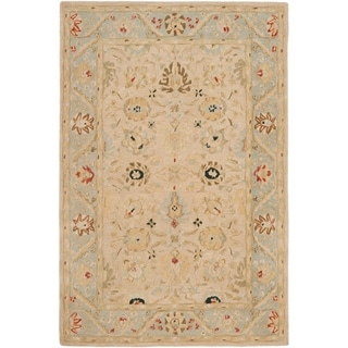 Safavieh Hand-made Anatolia Natural/ Soft Turquoise Wool Rug (6' x 9')