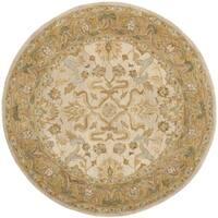 Safavieh Handmade Anatolia Oriental Ivory/ Brown Hand-spun Wool Rug - 6' Round
