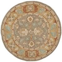 Safavieh Handmade Anatolia Oriental Brown/ Camel Hand-spun Wool Rug - 6' Round